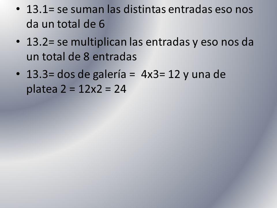 13.1= se suman las distintas entradas eso nos da un total de 6 13.2= se multiplican las entradas y eso nos da un total de 8 entradas 13.3= dos de gale