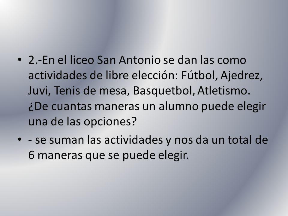 2.-En el liceo San Antonio se dan las como actividades de libre elección: Fútbol, Ajedrez, Juvi, Tenis de mesa, Basquetbol, Atletismo. ¿De cuantas man