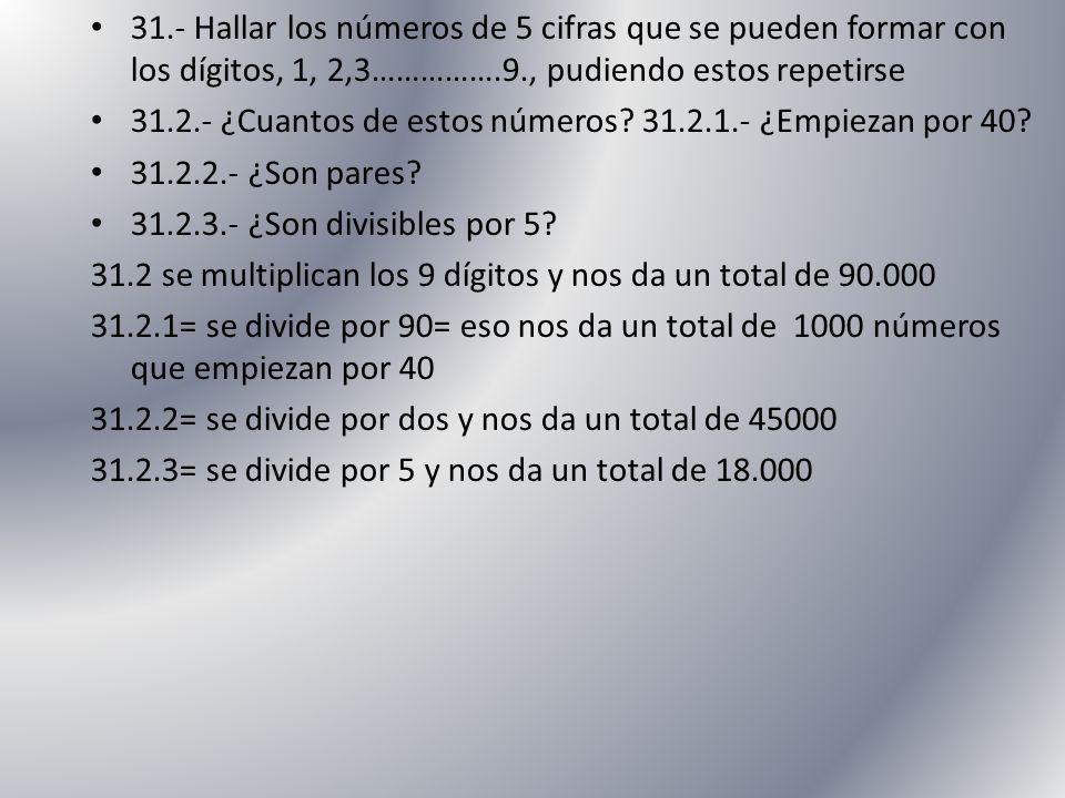 31.- Hallar los números de 5 cifras que se pueden formar con los dígitos, 1, 2,3…………….9., pudiendo estos repetirse 31.2.- ¿Cuantos de estos números? 3