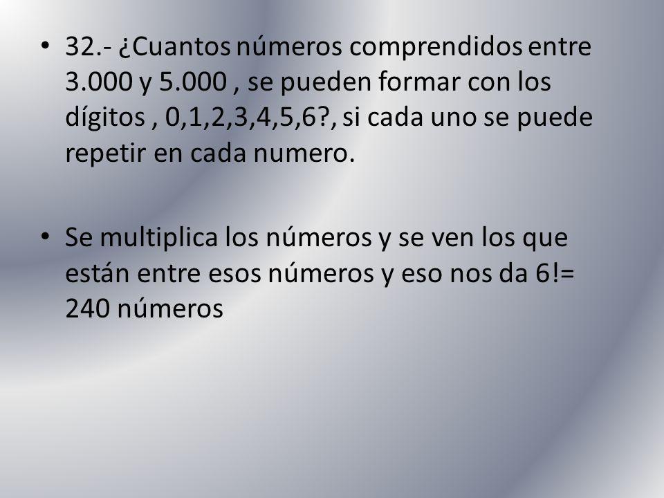 32.- ¿Cuantos números comprendidos entre 3.000 y 5.000, se pueden formar con los dígitos, 0,1,2,3,4,5,6?, si cada uno se puede repetir en cada numero.