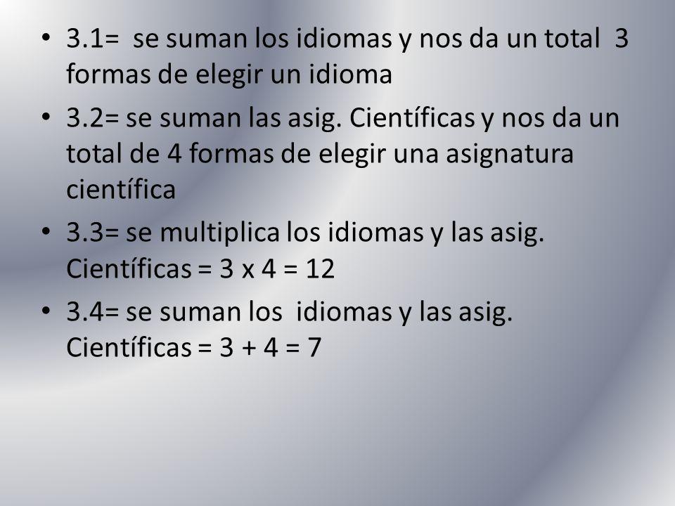 3.1= se suman los idiomas y nos da un total 3 formas de elegir un idioma 3.2= se suman las asig. Científicas y nos da un total de 4 formas de elegir u