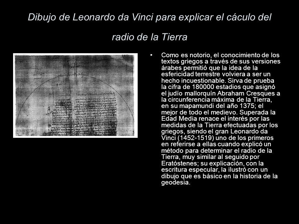 Dibujo de Leonardo da Vinci para explicar el cáculo del radio de la Tierra Como es notorio, el conocimiento de los textos griegos a través de sus vers