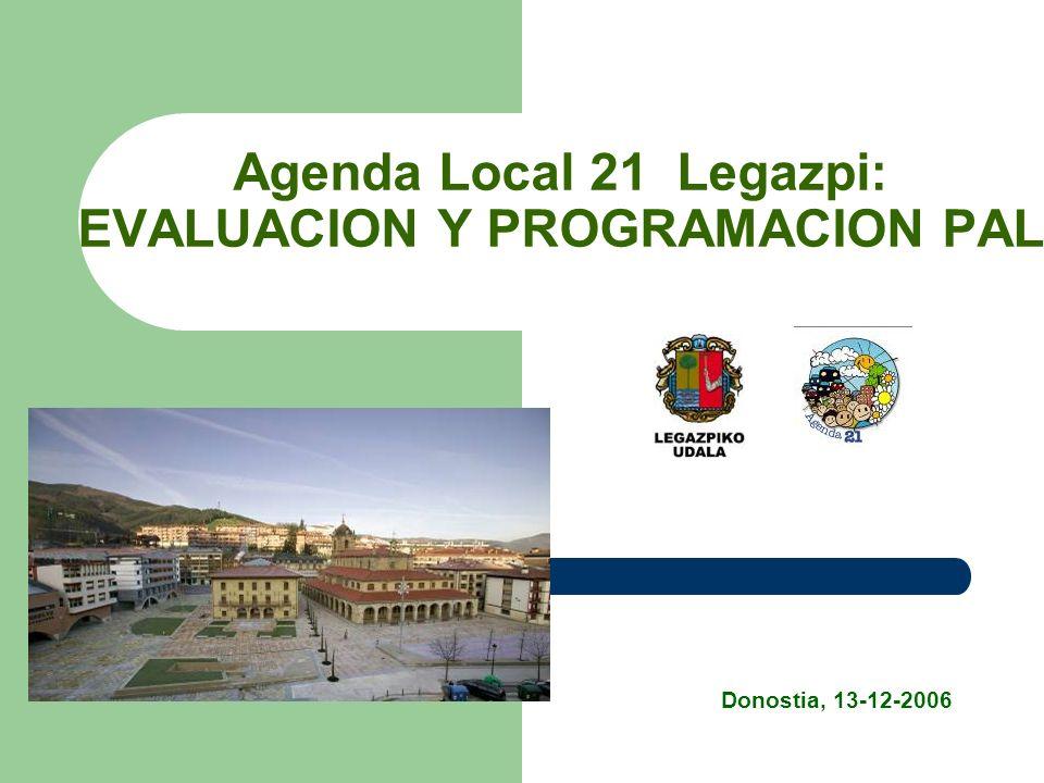 Agenda Local 21 Legazpi: EVALUACION Y PROGRAMACION PAL Donostia, 13-12-2006