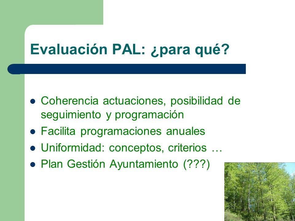 Evaluación PAL: ¿para qué? Coherencia actuaciones, posibilidad de seguimiento y programación Facilita programaciones anuales Uniformidad: conceptos, c