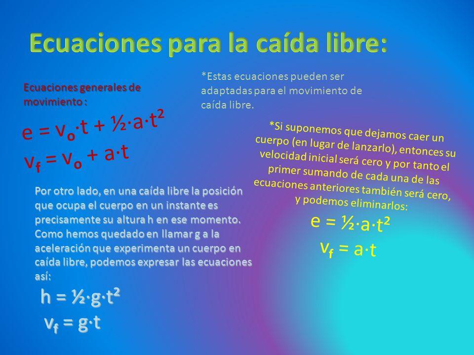 e = v o ·t + ½·a·t² v f = v o + a·t *Estas ecuaciones pueden ser adaptadas para el movimiento de caída libre. Ecuaciones generales de movimiento : *Si