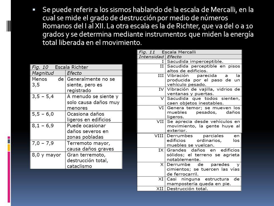 Se puede referir a los sismos hablando de la escala de Mercalli, en la cual se mide el grado de destrucción por medio de números Romanos del I al XII.