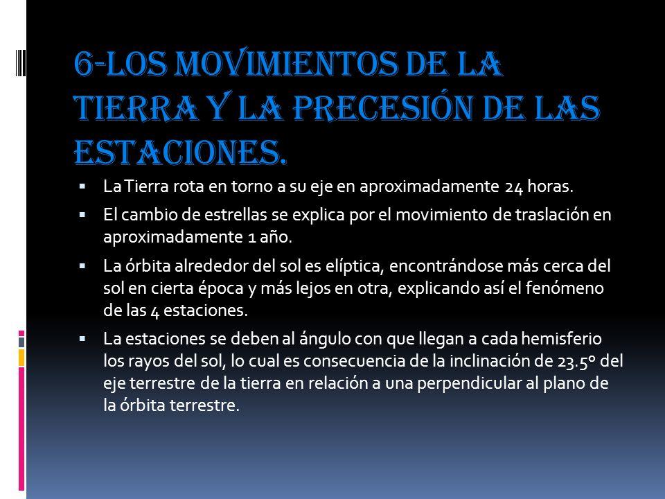 6-Los movimientos de la tierra y la precesión de las estaciones. La Tierra rota en torno a su eje en aproximadamente 24 horas. El cambio de estrellas