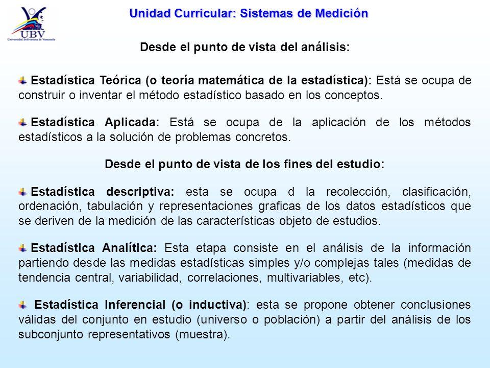 Unidad Curricular: Sistemas de Medición Desde el punto de vista del análisis: Estadística Teórica (o teoría matemática de la estadística): Está se ocu