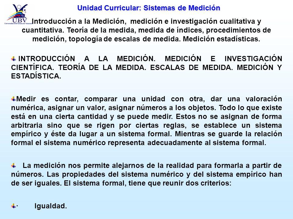 Unidad Curricular: Sistemas de Medición Introducción a la Medición, medición e investigación cualitativa y cuantitativa. Teoría de la medida, medida d