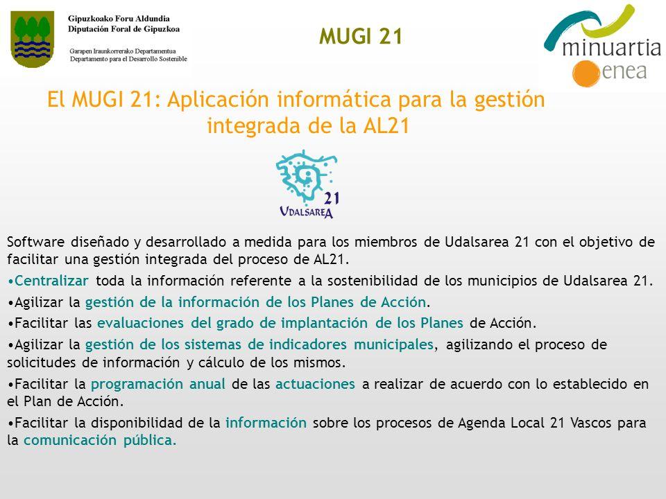MUGI 21 El MUGI 21: Aplicación informática para la gestión integrada de la AL21 Software diseñado y desarrollado a medida para los miembros de Udalsar