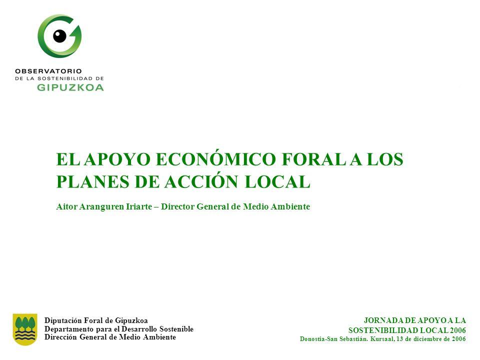 Diputación Foral de Gipuzkoa Departamento para el Desarrollo Sostenible Dirección General de Medio Ambiente EL APOYO ECONÓMICO FORAL A LOS PLANES DE A