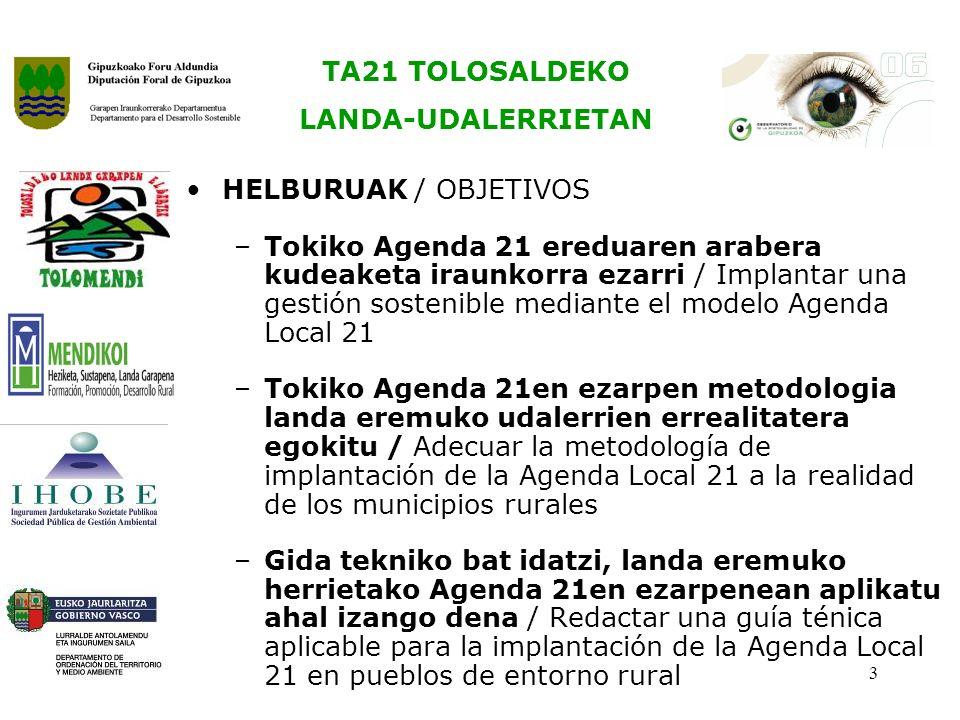 TA21 TOLOSALDEKO LANDA-UDALERRIETAN 3 HELBURUAK / OBJETIVOS –Tokiko Agenda 21 ereduaren arabera kudeaketa iraunkorra ezarri / Implantar una gestión sostenible mediante el modelo Agenda Local 21 –Tokiko Agenda 21en ezarpen metodologia landa eremuko udalerrien errealitatera egokitu / Adecuar la metodología de implantación de la Agenda Local 21 a la realidad de los municipios rurales –Gida tekniko bat idatzi, landa eremuko herrietako Agenda 21en ezarpenean aplikatu ahal izango dena / Redactar una guía ténica aplicable para la implantación de la Agenda Local 21 en pueblos de entorno rural