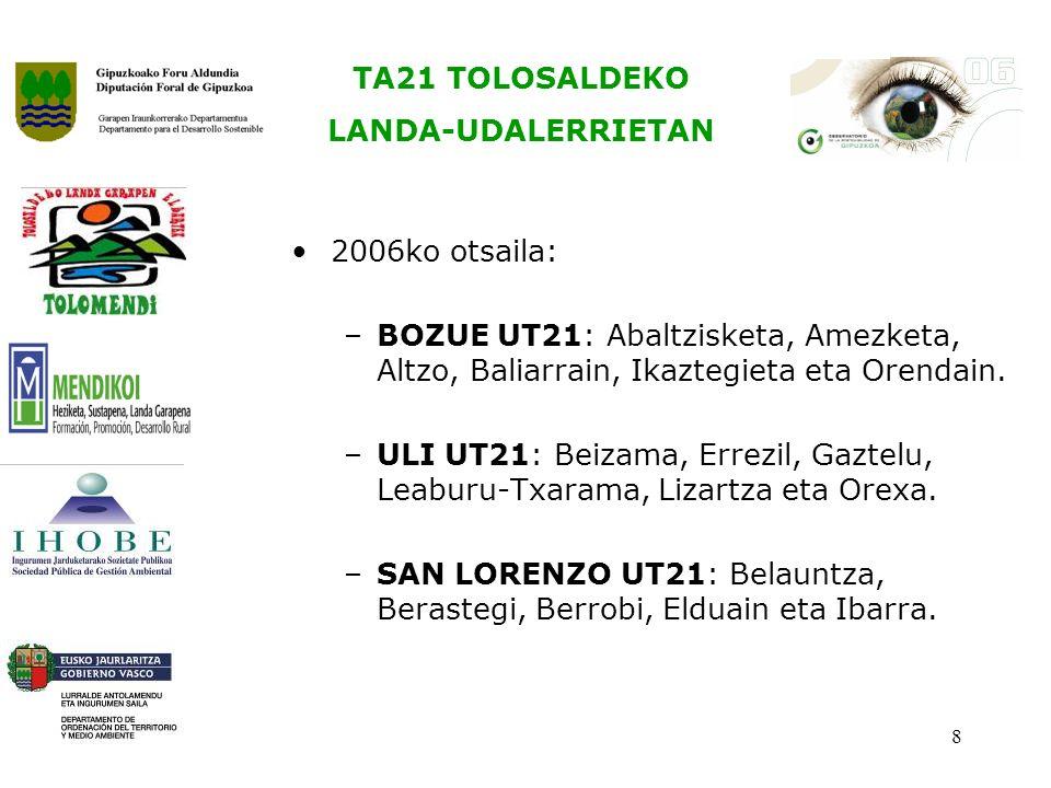 TA21 TOLOSALDEKO LANDA-UDALERRIETAN 8 2006ko otsaila: –BOZUE UT21: Abaltzisketa, Amezketa, Altzo, Baliarrain, Ikaztegieta eta Orendain.