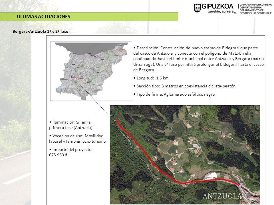 ULTIMAS ACTUACIONES Bergara-Antzuola 1ª y 2ª fase Descripción: Construcción de nuevo tramo de Bidegorri que parte del casco de Antzuola y conecta con