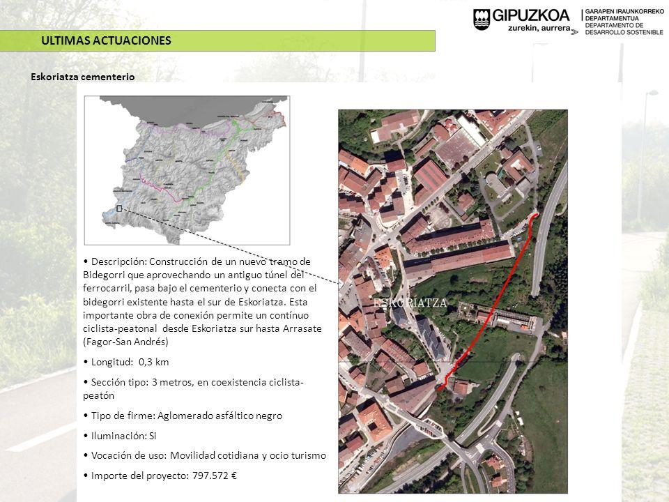 ULTIMAS ACTUACIONES Eskoriatza cementerio Descripción: Construcción de un nuevo tramo de Bidegorri que aprovechando un antiguo túnel del ferrocarril,