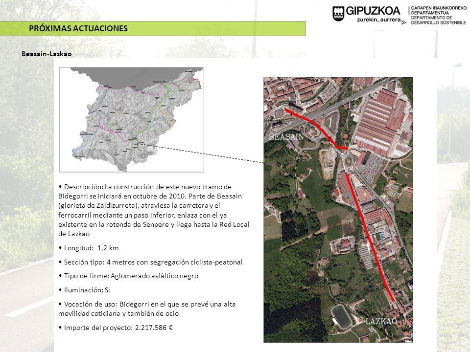 PRÓXIMAS ACTUACIONES Beasain-Lazkao Descripción: La construcción de este nuevo tramo de Bidegorri se iniciará en octubre de 2010. Parte de Beasain (gl
