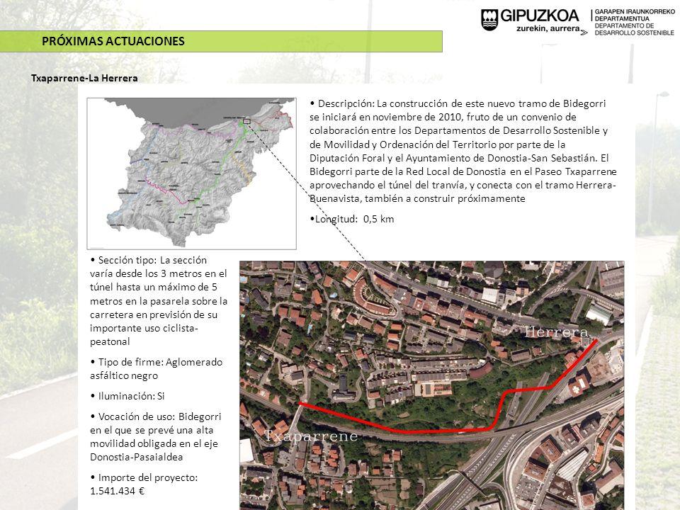 PRÓXIMAS ACTUACIONES Txaparrene-La Herrera Descripción: La construcción de este nuevo tramo de Bidegorri se iniciará en noviembre de 2010, fruto de un