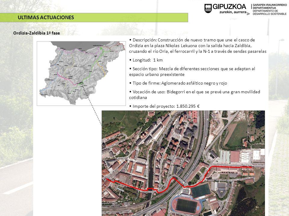 ULTIMAS ACTUACIONES Soraluze-Mekolalde Descripción: Construcción de un nuevo tramo de de Bidegorri de 1,8 km desde Osintxu a Mekolalde (Bergara) y mejoras en el vallado, señalización e instalación de iluminación en los 4 km que van de Soraluze (barrio Olea) a Mekolalde Longitud: 4 km Sección tipo: 3 metros con coexistencia ciclista- peatonal Tipo de firme: Aglomerado asfáltico negro Iluminación: Si, con tecnología LED muy eficiente energéticamente Vocación de uso: Bidegorri en el que se prevé una alta utilización por ocio-turismo y laboral.