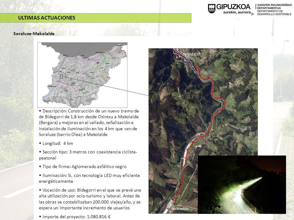ULTIMAS ACTUACIONES Soraluze-Mekolalde Descripción: Construcción de un nuevo tramo de de Bidegorri de 1,8 km desde Osintxu a Mekolalde (Bergara) y mej