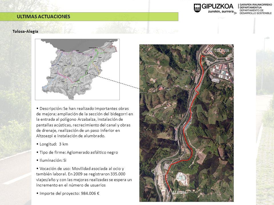 ULTIMAS ACTUACIONES Tolosa-Alegia Descripción: Se han realizado importantes obras de mejora; ampliación de la sección del bidegorri en la entrada al p
