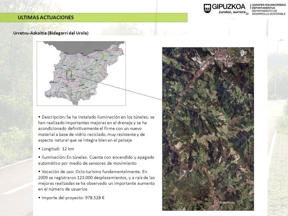 ULTIMAS ACTUACIONES Urretxu-Azkoitia (Bidegorri del Urola) Descripción: Se ha instalado iluminación en los túneles, se han realizado importantes mejor