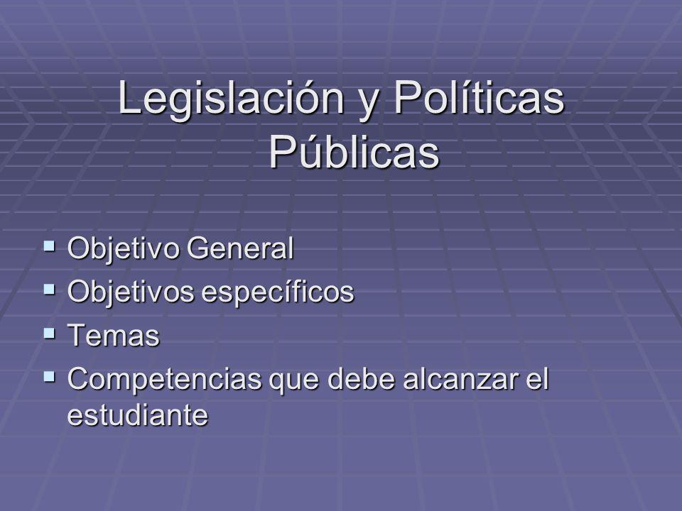 Legislación y Políticas Públicas Objetivo General Objetivo General Objetivos específicos Objetivos específicos Temas Temas Competencias que debe alcan