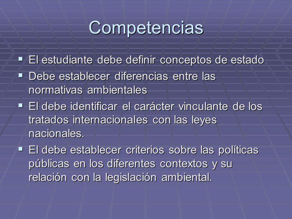 Competencias El estudiante debe definir conceptos de estado El estudiante debe definir conceptos de estado Debe establecer diferencias entre las norma