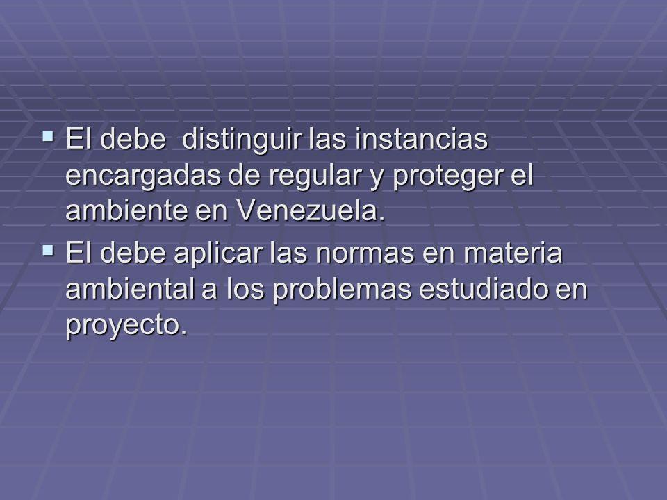 El debe distinguir las instancias encargadas de regular y proteger el ambiente en Venezuela. El debe distinguir las instancias encargadas de regular y