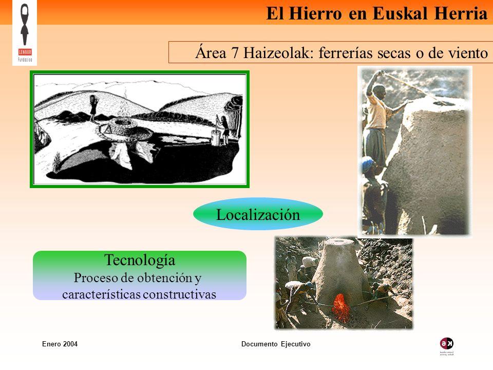 El Hierro en Euskal Herria Enero 2004 Documento Ejecutivo Área 7 Haizeolak: ferrerías secas o de viento Tecnología Proceso de obtención y características constructivas Localización
