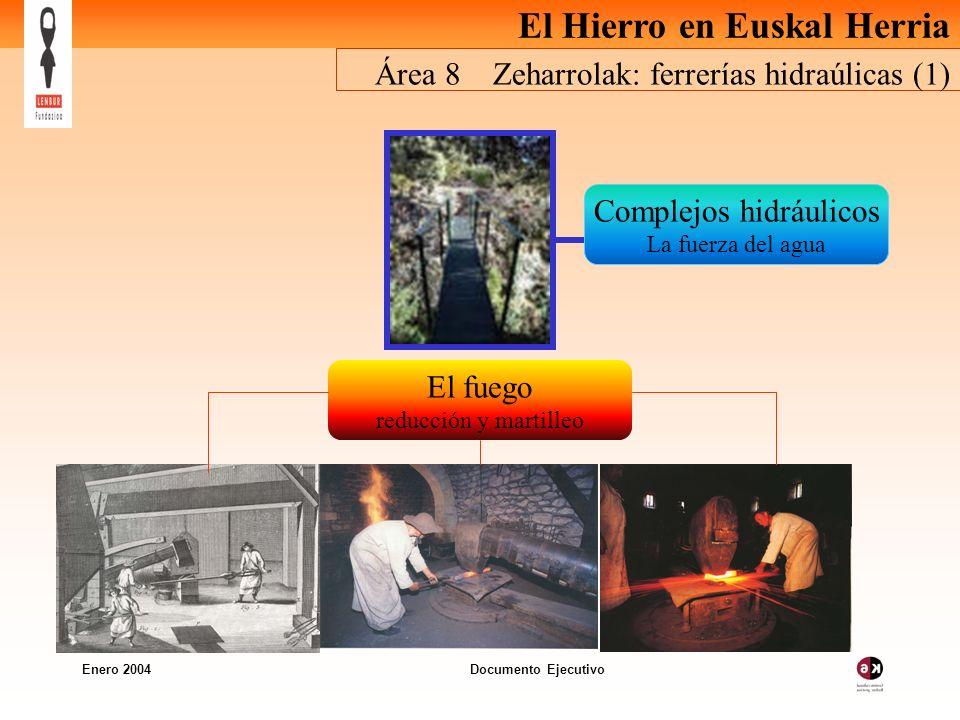 El Hierro en Euskal Herria Enero 2004 Documento Ejecutivo Área 8 Zeharrolak: ferrerías hidraúlicas (1) Complejos hidráulicos La fuerza del agua El fuego reducción y martilleo