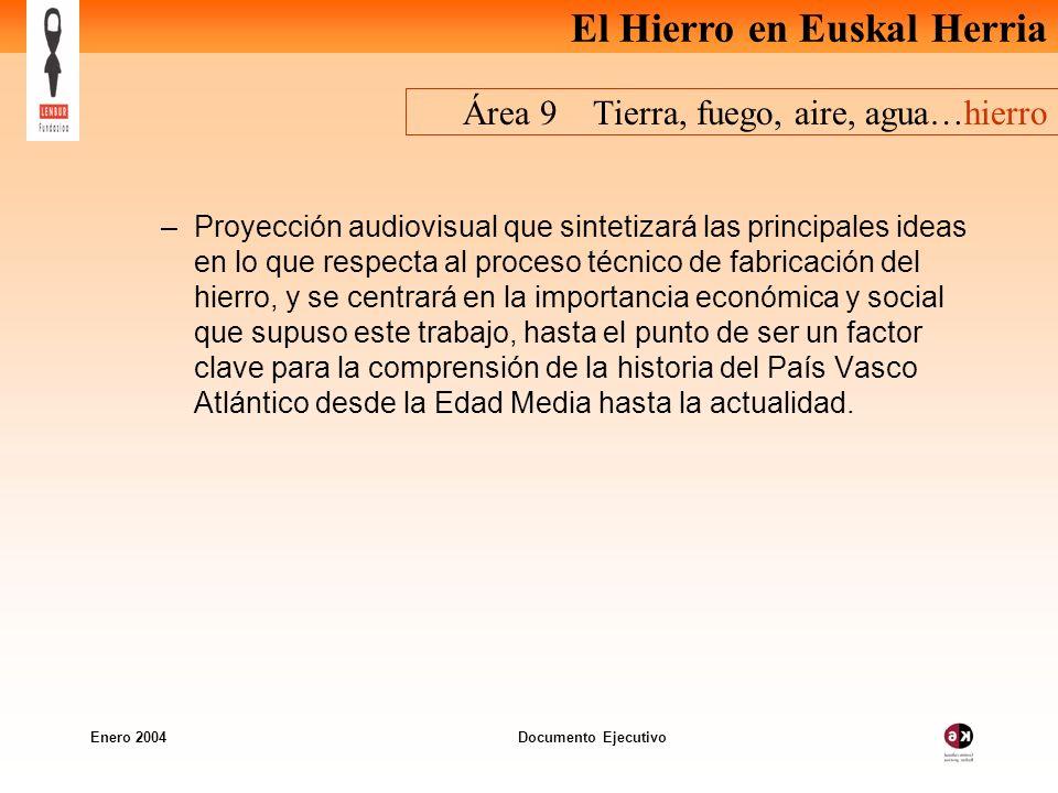 El Hierro en Euskal Herria Enero 2004 Documento Ejecutivo Área 9 Tierra, fuego, aire, agua…hierro –Proyección audiovisual que sintetizará las principa