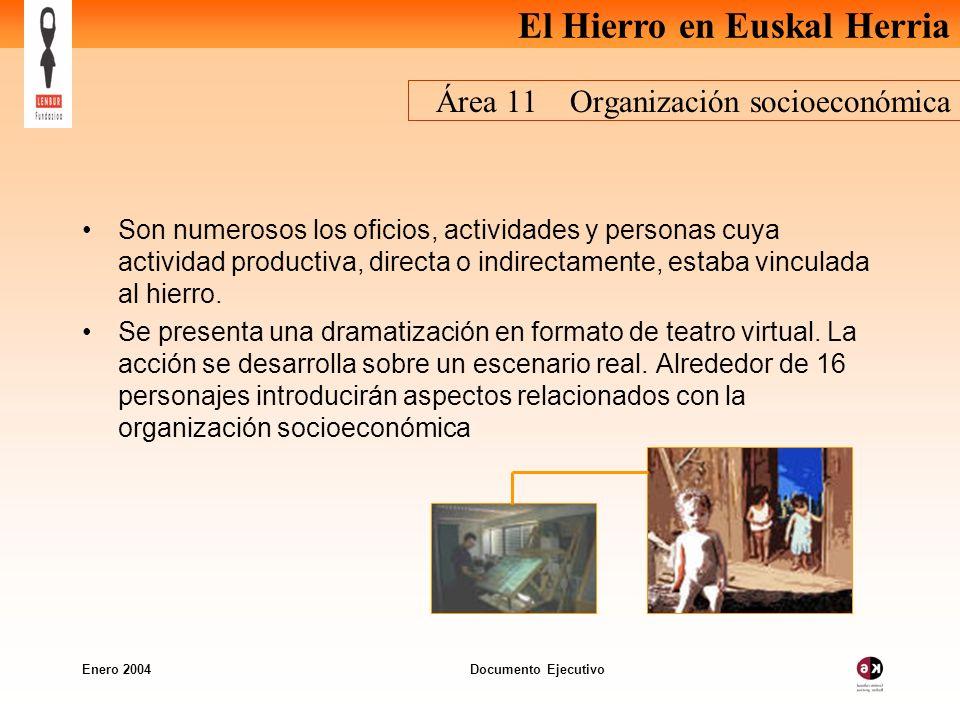 El Hierro en Euskal Herria Enero 2004 Documento Ejecutivo Área 11 Organización socioeconómica Son numerosos los oficios, actividades y personas cuya actividad productiva, directa o indirectamente, estaba vinculada al hierro.