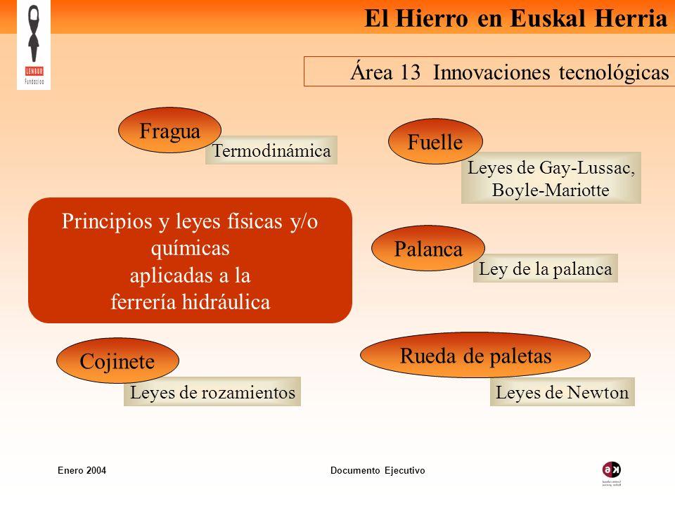 El Hierro en Euskal Herria Enero 2004 Documento Ejecutivo Área 13 Innovaciones tecnológicas Principios y leyes físicas y/o químicas aplicadas a la fer