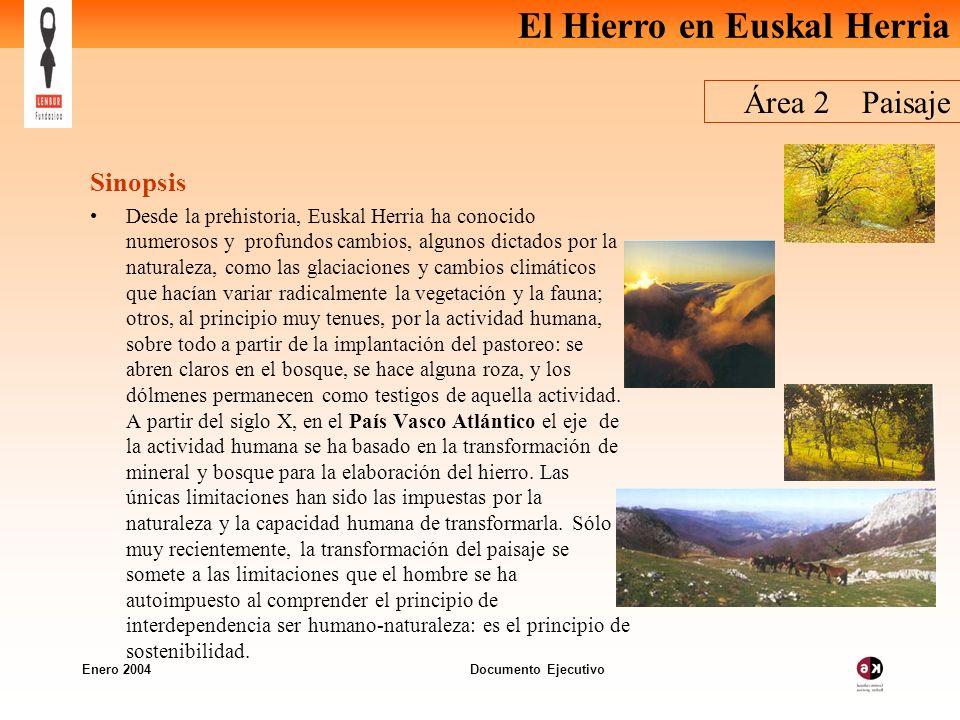 El Hierro en Euskal Herria Enero 2004 Documento Ejecutivo Área 2 Paisaje Sinopsis Desde la prehistoria, Euskal Herria ha conocido numerosos y profundo