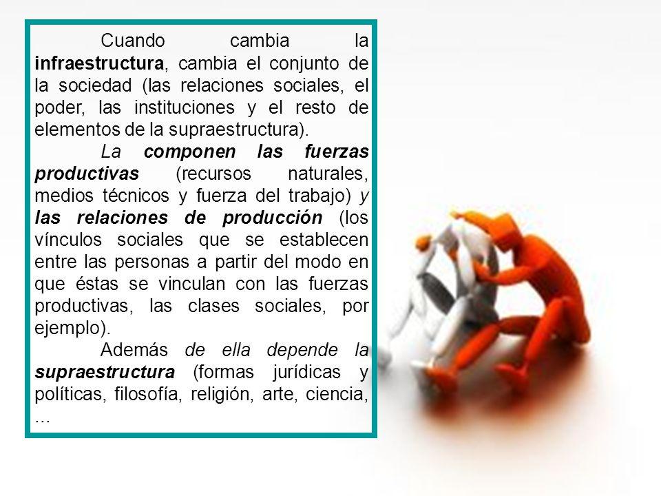 Cuando cambia la infraestructura, cambia el conjunto de la sociedad (las relaciones sociales, el poder, las instituciones y el resto de elementos de l