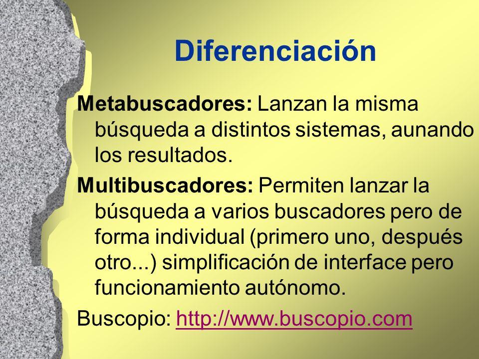 Diferenciación Metabuscadores: Lanzan la misma búsqueda a distintos sistemas, aunando los resultados. Multibuscadores: Permiten lanzar la búsqueda a v