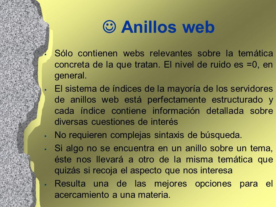 Anillos web Sólo contienen webs relevantes sobre la temática concreta de la que tratan. El nivel de ruido es =0, en general. El sistema de índices de