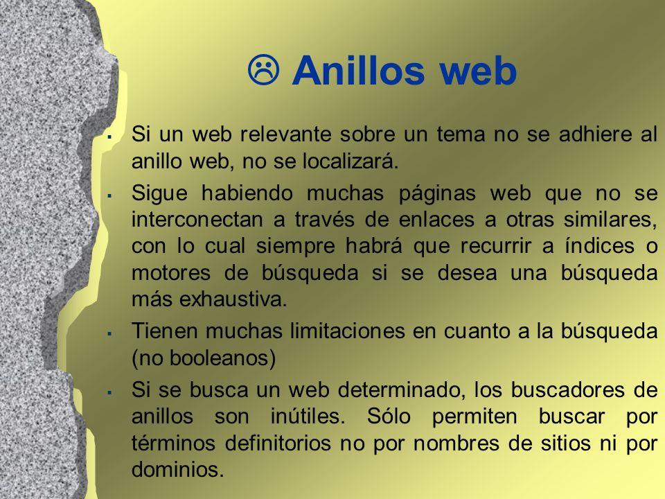 Anillos web Si un web relevante sobre un tema no se adhiere al anillo web, no se localizará. Sigue habiendo muchas páginas web que no se interconectan
