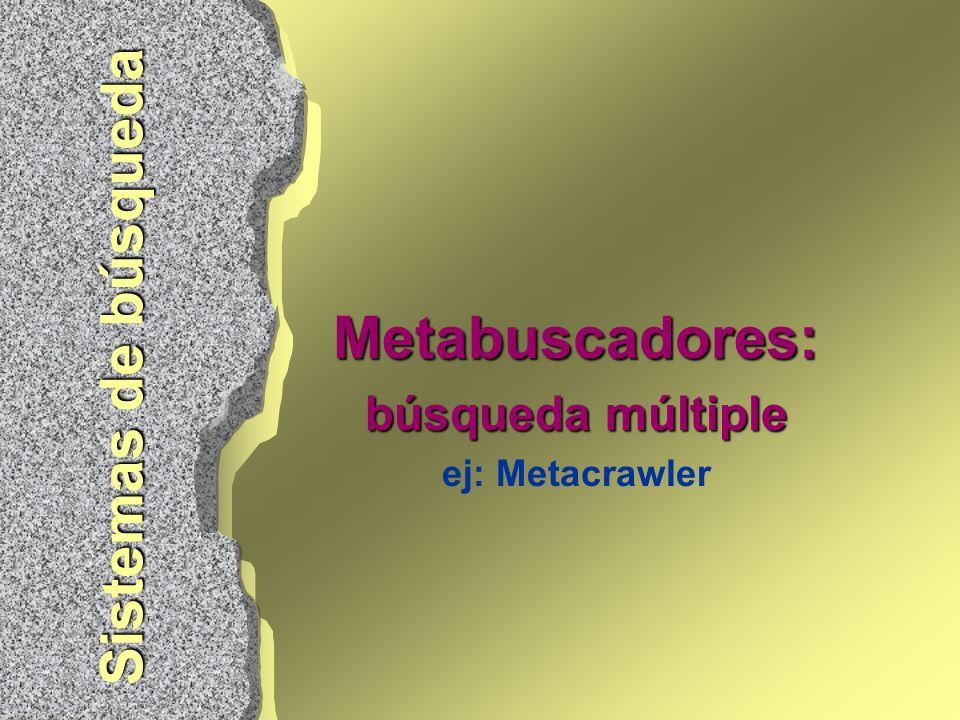 Metabuscadores: búsqueda múltiple ej: Metacrawler Sistemas de búsqueda
