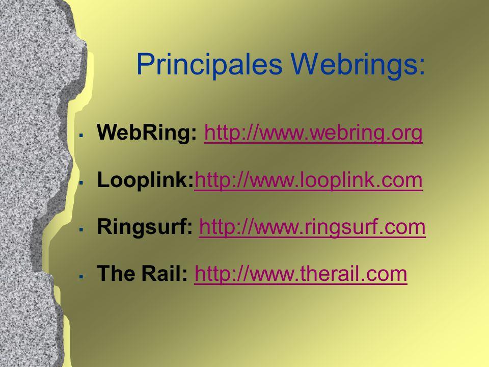 Principales Webrings: WebRing: http://www.webring.orghttp://www.webring.org Looplink:http://www.looplink.comhttp://www.looplink.com Ringsurf: http://w
