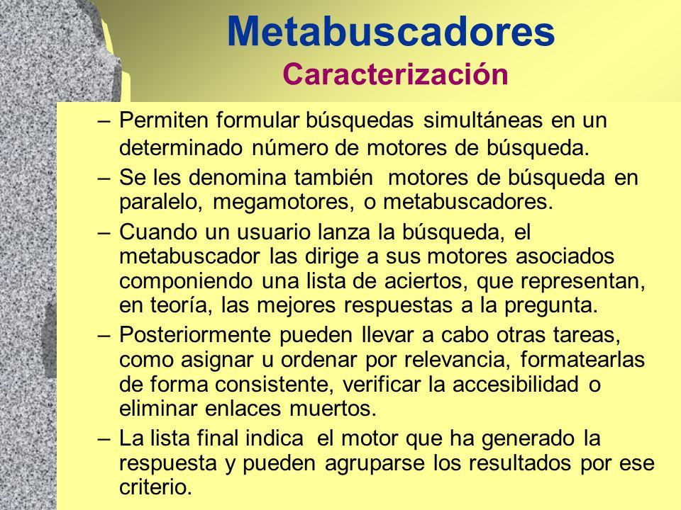Metabuscadores Caracterización –Permiten formular búsquedas simultáneas en un determinado número de motores de búsqueda. –Se les denomina también moto