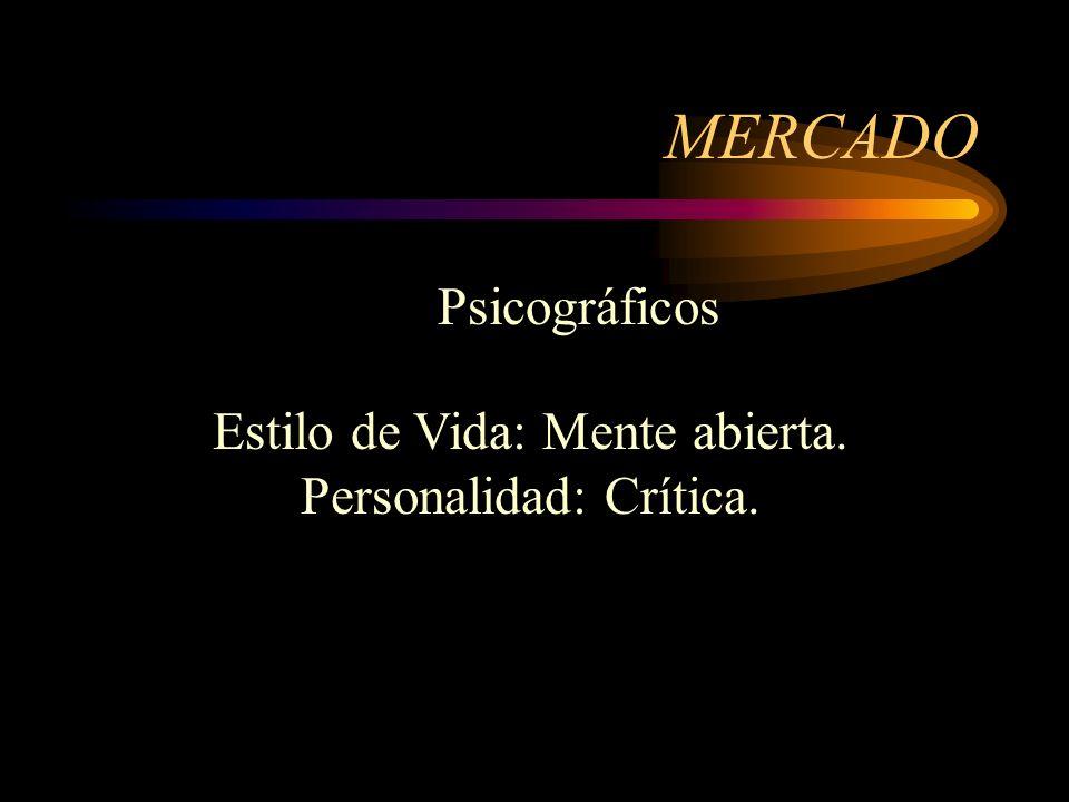 MERCADO Ocasión de compra: Normal Beneficios: Entretenimiento. Conductuales