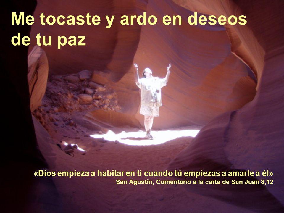 Me tocaste y ardo en deseos de tu paz «Dios empieza a habitar en ti cuando tú empiezas a amarle a él» San Agustín, Comentario a la carta de San Juan 8,12