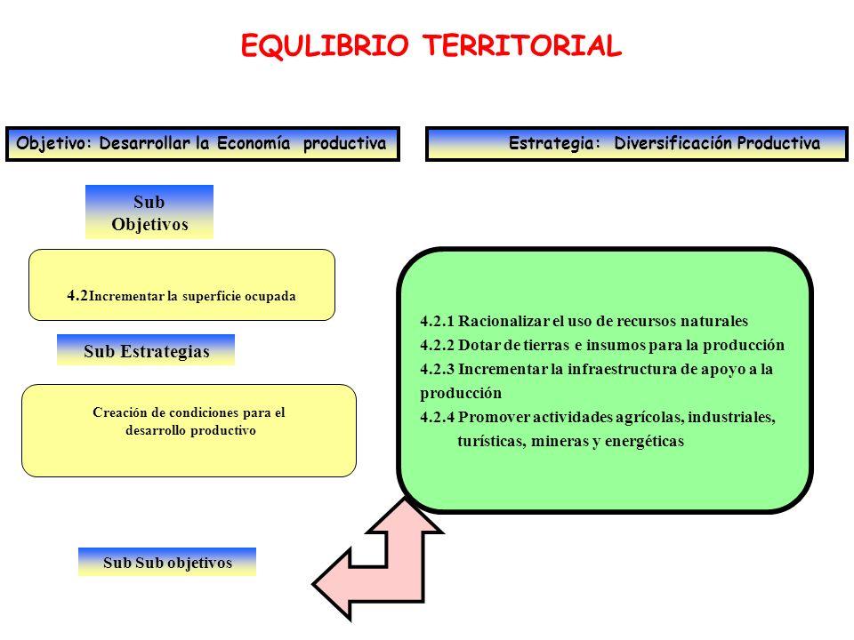 Sub Objetivos EQULIBRIO TERRITORIAL Objetivo: Desarrollar la Economía productiva Estrategia: Diversificación Productiva 4.2 Incrementar la superficie