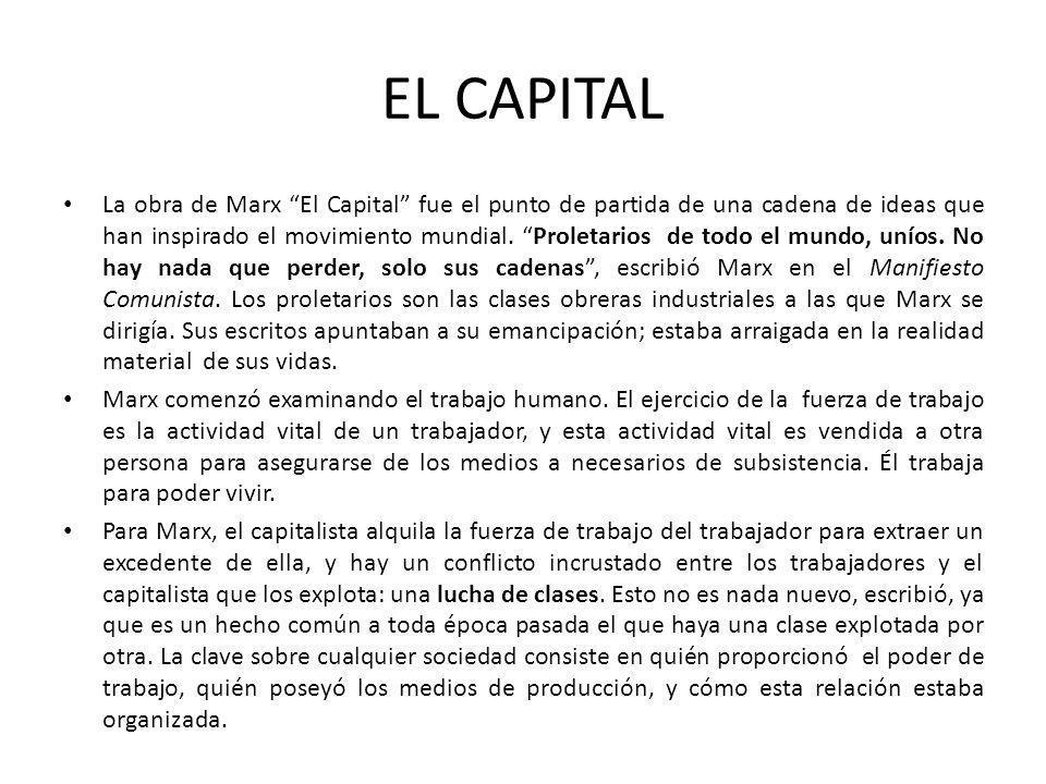 EL CAPITAL La obra de Marx El Capital fue el punto de partida de una cadena de ideas que han inspirado el movimiento mundial. Proletarios de todo el m