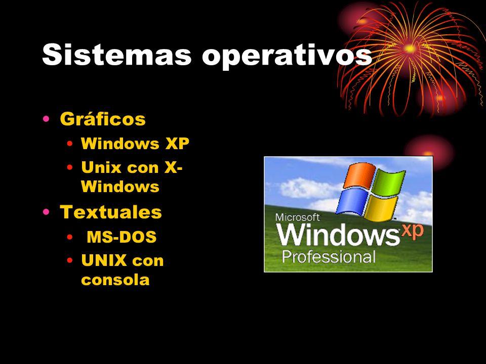 Sistemas operativos Gráficos Windows XP Unix con X- Windows Textuales MS-DOS UNIX con consola