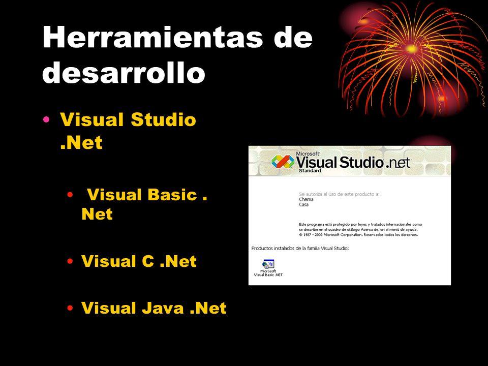 Herramientas de desarrollo Visual Studio.Net Visual Basic. Net Visual C.Net Visual Java.Net