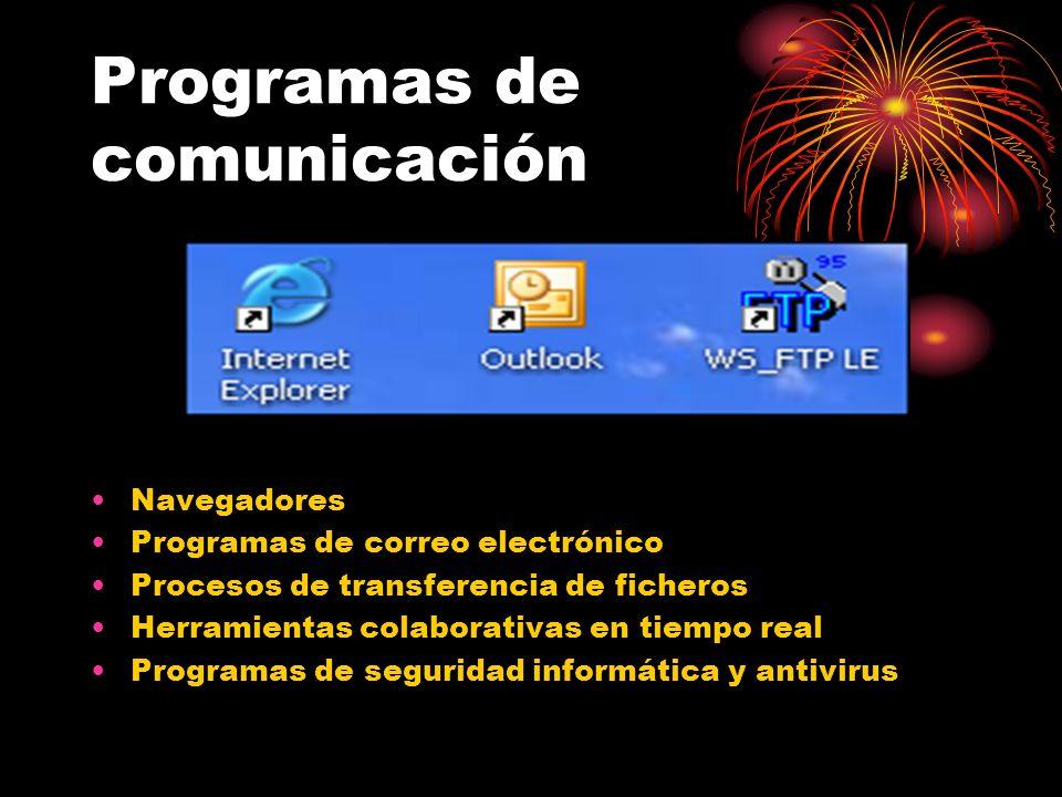 Programas de comunicación Navegadores Programas de correo electrónico Procesos de transferencia de ficheros Herramientas colaborativas en tiempo real Programas de seguridad informática y antivirus