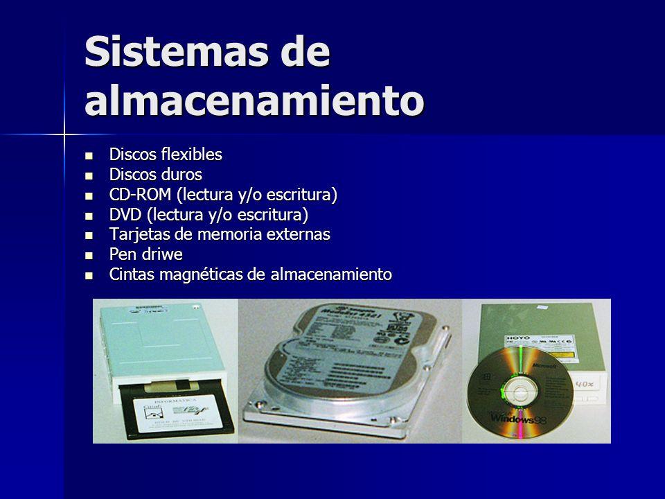 Sistemas de almacenamiento Discos flexibles Discos flexibles Discos duros Discos duros CD-ROM (lectura y/o escritura) CD-ROM (lectura y/o escritura) D