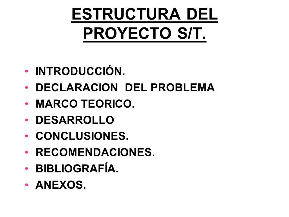 ESTRUCTURA DEL PROYECTO S/T. INTRODUCCIÓN. DECLARACION DEL PROBLEMA MARCO TEORICO. DESARROLLO CONCLUSIONES. RECOMENDACIONES. BIBLIOGRAFÍA. ANEXOS.